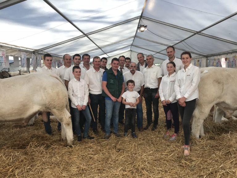 Les membres du syndicat charolais Aveyron dans un élevage